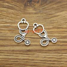 25 Stethoscope Charm Medical Drug Rn Rx Hospital Charm Antique Silver 15x27 3235