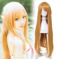 SAO Sword Art Online Yuuki Asuna Cosplay Wig Orange Yellow Long Straight Hair
