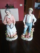 "Homco Home Interiors Elderly Women and Man Figurines Ceramic 10"""
