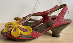 FLY LONDON DALI SANDALS UK SIZE 7 EU 40 RED & YELLOW SLINGBACK SUPER CONDITION