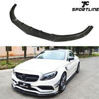 Front Bumper Lip Spoiler For Mercedes Benz W205 C63 AMG Sedan 15-20 Carbon Fiber
