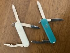 Victorinox Swiss Army Pocket Knife 1-White 1-teal w/ emergency blade Rover Logo