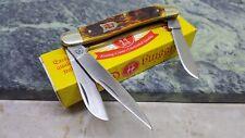 Kissing Crane Amber Bone Stockman Folding Blade Pocket Knife