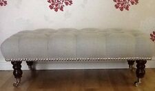 A Quality Long Deep Buttoned Footstool In Laura Ashley Dalton Dove Grey Fabric