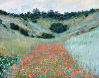 Art Oil painting Monet - Nice impressionism landscape Poppy Field near Giverny