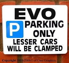 EVO Parking Sign for mitsubishi lancer 4 5 6 7 8 9 VII Gift Present for Project