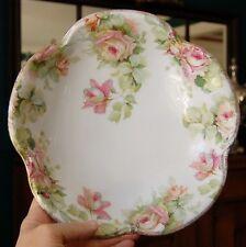 "Lovely Pink Rose Adorned Scalloped Edge J & C ""Louise"" Bavaria Germany Bowl"