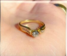 MOTHERS DAY  DIAMOND & GOLD RING SIZE 5.5 sweet 15or16 quinceanera/anniversary
