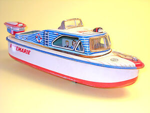 """Tin Plate 3687 Cabin Cruiser """"ROSEMARIE"""" by Marusan Japan in very good condition"""