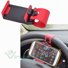 Supporto volante auto per iPhone 4 4S rosso fascia elastica regolabile VA3
