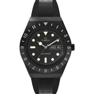 Orologio Uomo Q TIMEX REISSUE TW2U61600 Bracciale Acciaio Nero Vintage