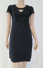CUE Black Short Sleeve Cut Out Neckline Corporate Work Shift Dress sz 8 XS