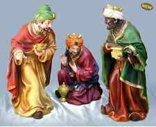 "NEW Christmas 18"" Deluxe Hand Painted Resin 3 Kings Nativity Wise men Figurines"