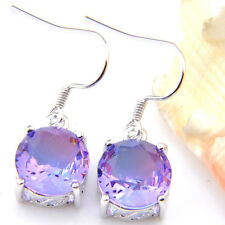 Simple Design Round Cut Bi Colored Tourmaline Gems Silver Dangle Hook Earrings