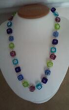 Sterling Silver Multi Color Murano Glass Necklace Dobbs Boston Italy