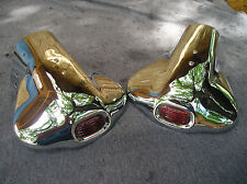NEW PAIR OF VINTAGE STYLE EXHAUST TIPS WITH A RED JEWEL GLASS ON THEM ! 39 47 54