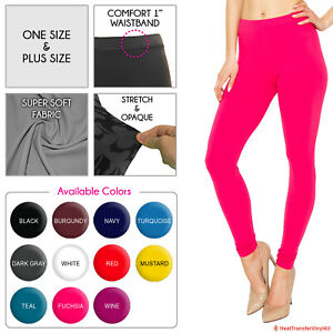 Womens Buttery Soft Premium Solid Color Leggings - One Size and Plus Size