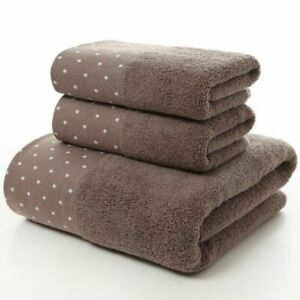 Bath Towel Set for Bathroom 2 Hand Face Towels 1 Bath Towel for Adult White Brow