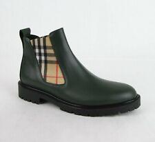 $680 Burberry Men's Bottle Green Leather Chelsea Boot w/Elastic Insert 4078665