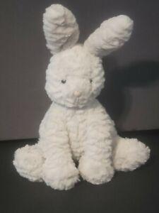 "Jellycat London 12"" Fuddlewuddle Bunny White Plush Lovey Silky Soft Easter Baby"
