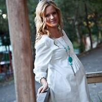 Maternity Casual Dress Shirt Pregnant Cotton Top Clothes Pregnancy Boho Tunic
