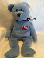 "Collectible 2001 Blue TY Beanie Baby ""America""Bear United States Flag No Tags **"
