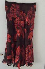Ladies Eastex Viscose / Silk Black & Red Skirt - Size UK 10 - New