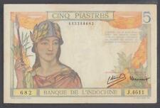 French Indochina 5 Piastres Banknote P-55c Nd 1946 Aunc