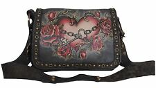ISABELLA FIORE Crossbody Shoulder Bag Me Hearty Jamie Tattoo Distressed Leather