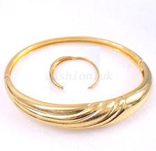 Women New Opened Bangle Orietal Wedding 6cm x 5.4cm18K Yellow Gold Plated Uk