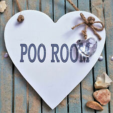SHABBY WHITE CHIC WOODEN Heart Sign - POO ROOM -Toilet Bathroom Loo Crystal