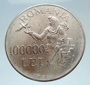 1946 ROMANIA Michael I Romanian Lady & Bird Antique Genuine Silver Coin i75302