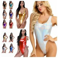 Women One Piece Wetlook Thong Leotard Bodysuit Swimsuit Swimwear Bathing Suit