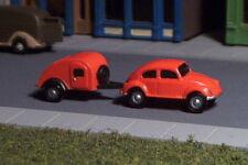 VW BUG and Tear drop Camper  N Scale Vehicles ORANGE