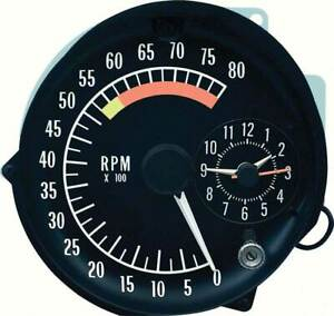 1973-75 Pontiac Firebird Tachometer Clock In Dash Gauge Assembly 5500 Redline