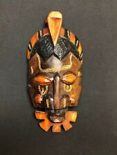 Wooden Handcrafted African Mask Raised Details Wall Hanging Decor