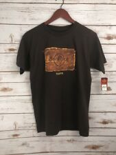 NWT Hard Rock Cafe Tampa Women Brown Denim patch logo T Shirt Brown NEW SZ S