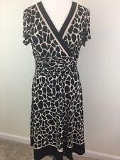 SANDRA DARREN Dress Women's 14 L V-neck Animal Print Stretch Short Sleeve
