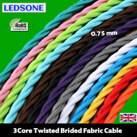3Core Twisted Fabric Lighting Flex Cord Vintage Industrial Italian Braided Cable