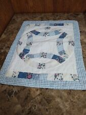 Quilted Patchwork Standard Pillow Sham Floral Checkered Blue White