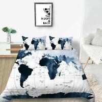 Bedroom Decor 3D Blue World Map Design Bedding Set Comforter Cover Set