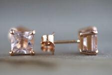 Pink Peach Morganite Cushion Cut 14K Rose Gold Over Silver Stud Earrings