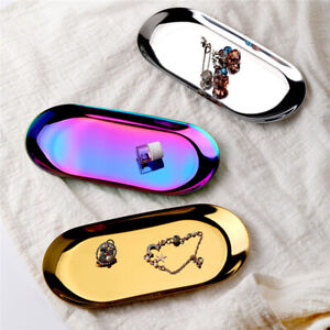 Oval Cosmetics Storage Box Jewelry Tray Dessert Tray Plates Accessories MA