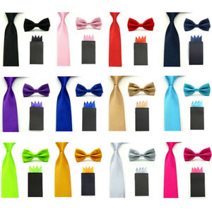 Men's Solid Bow Tie Skinny 5CM Necktie With Handkerchief Pocket Square Set
