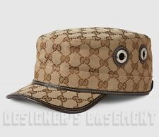 765fba2281561 GUCCI beige XL Original GG canvas Grommets Horsebit buckle MILITARY hat NWT  Auth