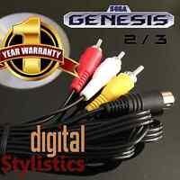 AV Cable Cord (NEW) Sega Genesis 2 & 3  (A/V Audio Video) 6FT. (9-pin) MK-1631