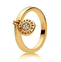 New Genuine PANDORA Logo Padlock Ring 14K Gold Vermeil 197400CZ