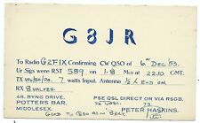 MIDDLESEX - POTTERS BAR, 1953 QSL Radio Transmission Confirmation Postcard G8JR