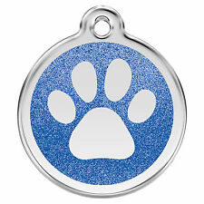 Glitter Paw Print Engraved Dog / Cat ID Tags / Discs by Red Dingo (XPP)