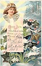 Embossed God Jul! Joyful Christmas! Child Girl Angel Cherub Mistletoes Snowdrops